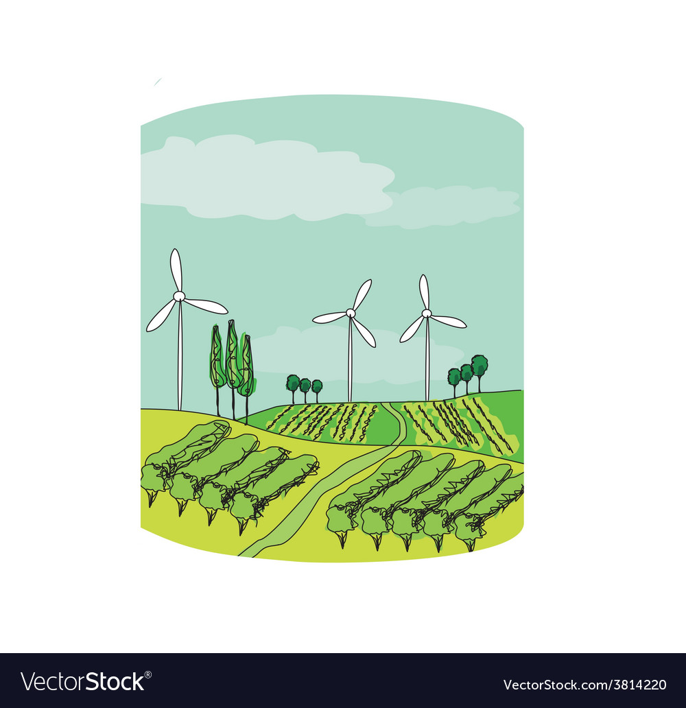 Wind power on a green meadow vector | Price: 1 Credit (USD $1)