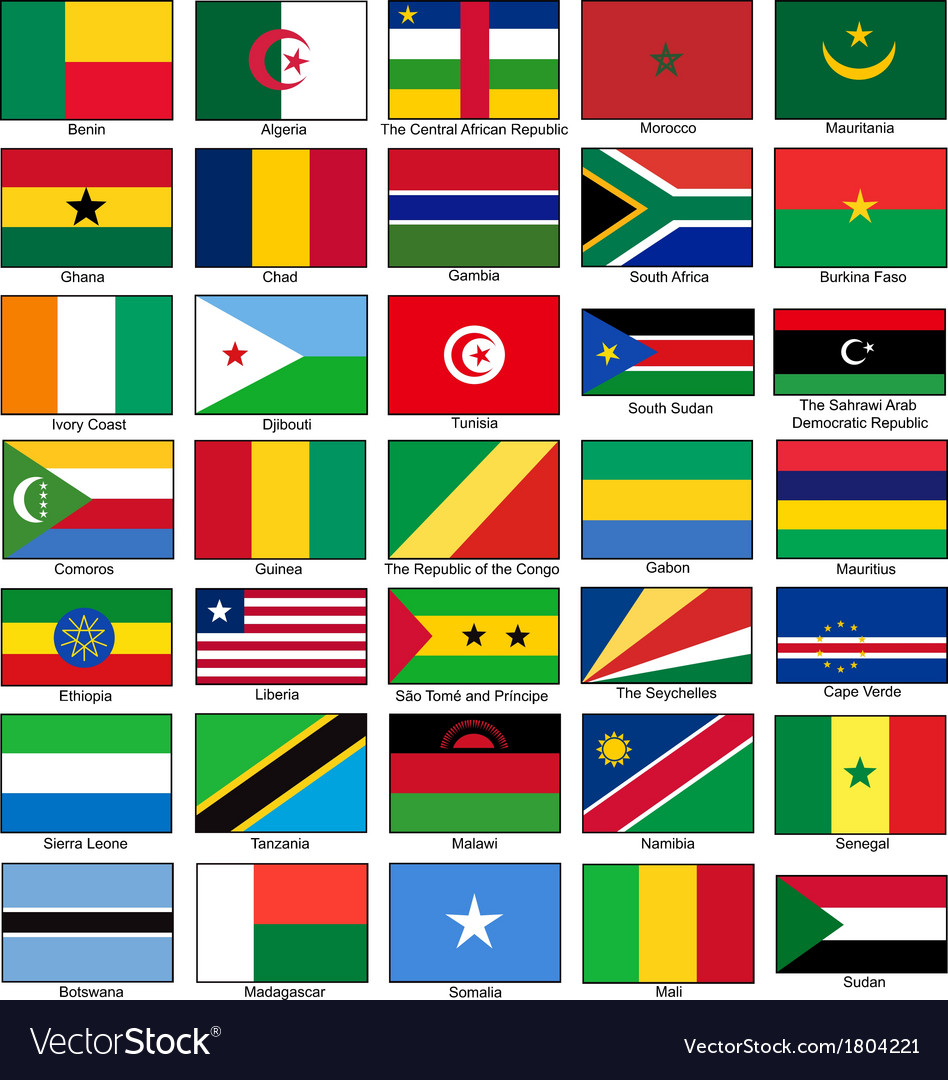 Africa flags set vector | Price: 1 Credit (USD $1)