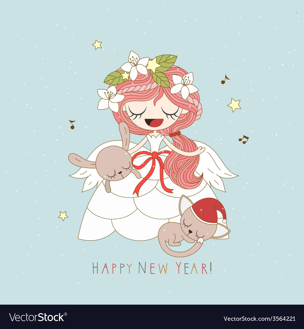 Angel card vector