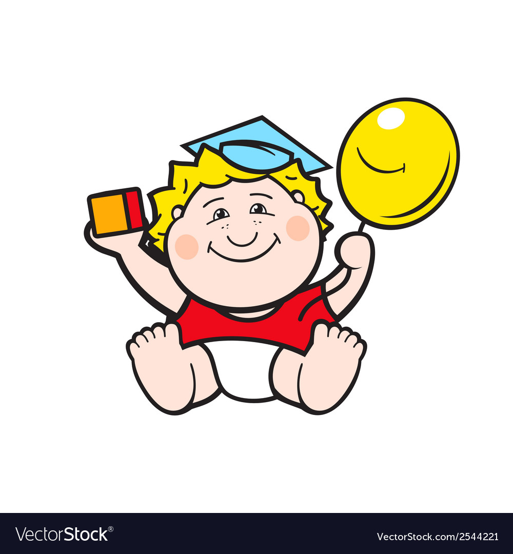 Baby with a ball vector | Price: 1 Credit (USD $1)