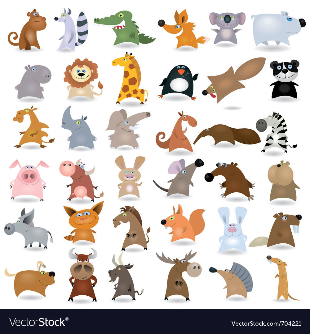 Cartoon animal set vector | Price: 3 Credit (USD $3)