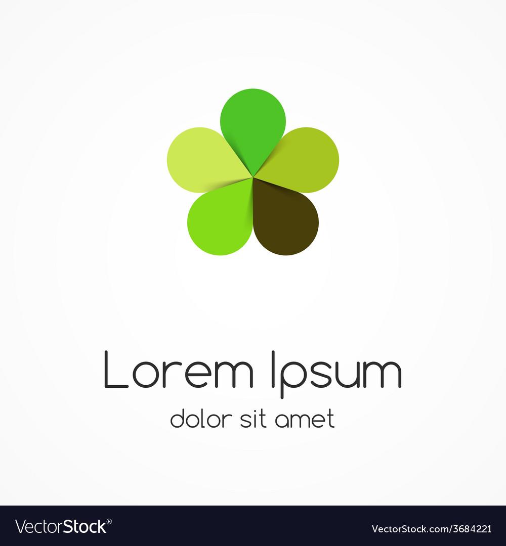 Circle green leaves logo eco sign symbol vector | Price: 1 Credit (USD $1)