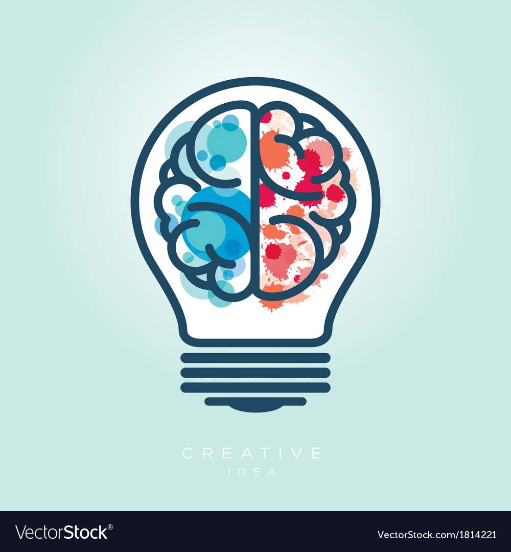 Creative light bulb left and right brain idea icon vector | Price: 1 Credit (USD $1)