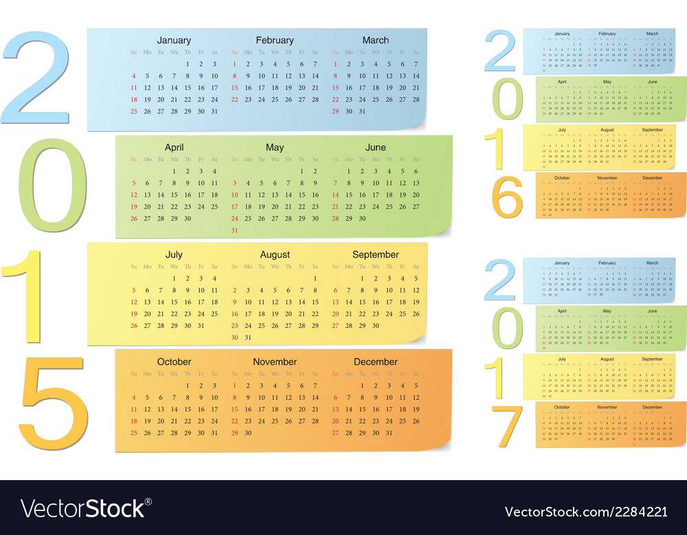 European 2015 2016 2017 color calendars vector | Price: 1 Credit (USD $1)