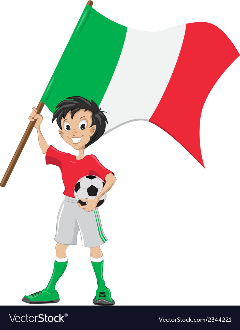 Happy soccer fan holds italia flag vector | Price: 1 Credit (USD $1)