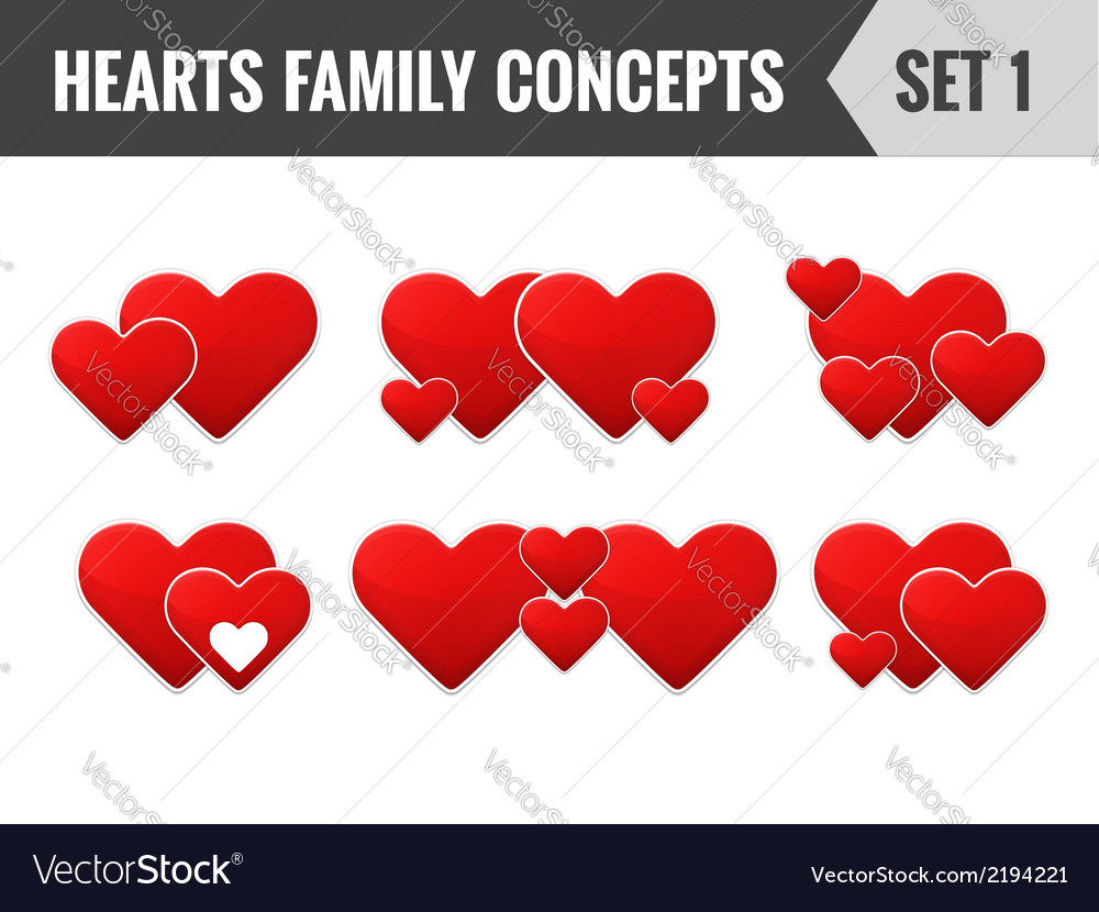 Hearts family concepts set 1 vector | Price: 1 Credit (USD $1)