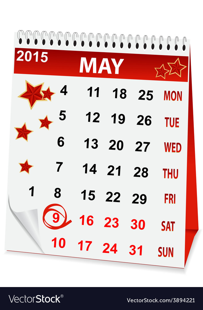 Icon calendar for may 9 vector | Price: 1 Credit (USD $1)
