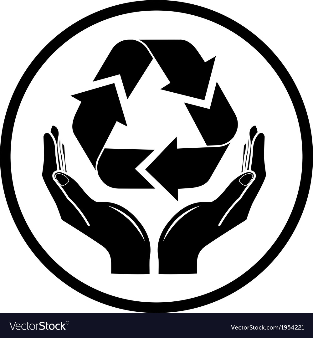 Recycle symbol in hands icon vector | Price: 1 Credit (USD $1)