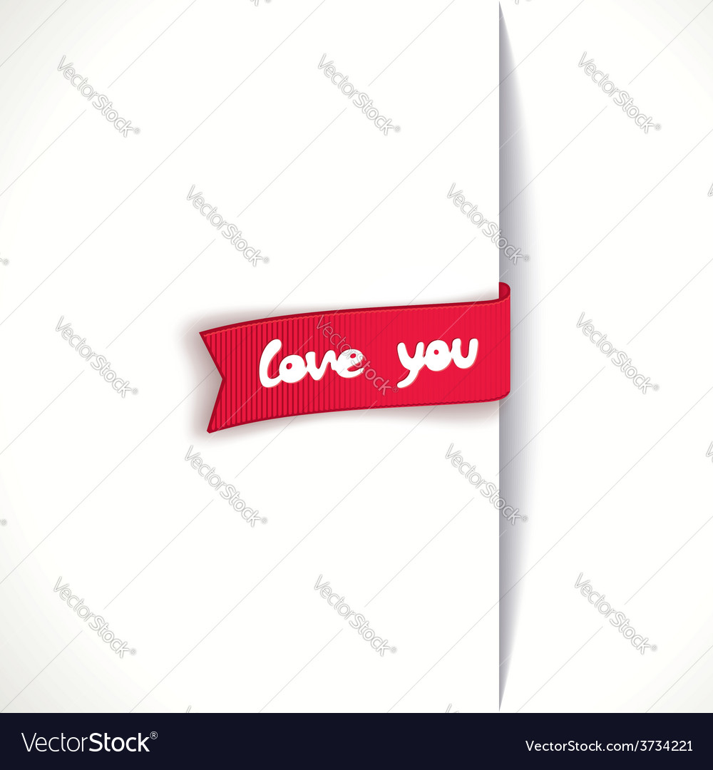 Red ribbon - love you vector | Price: 1 Credit (USD $1)