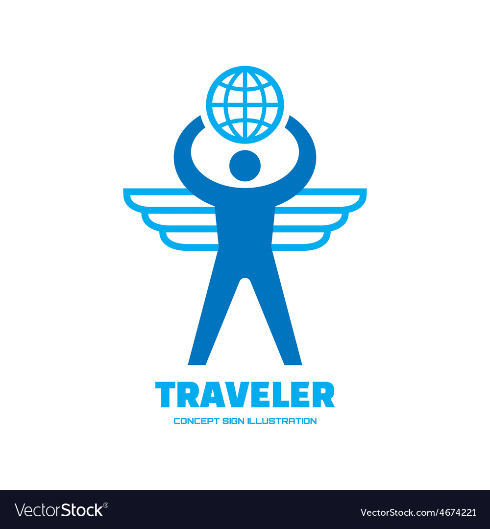 Traveler - human with wings and globe vector | Price: 1 Credit (USD $1)