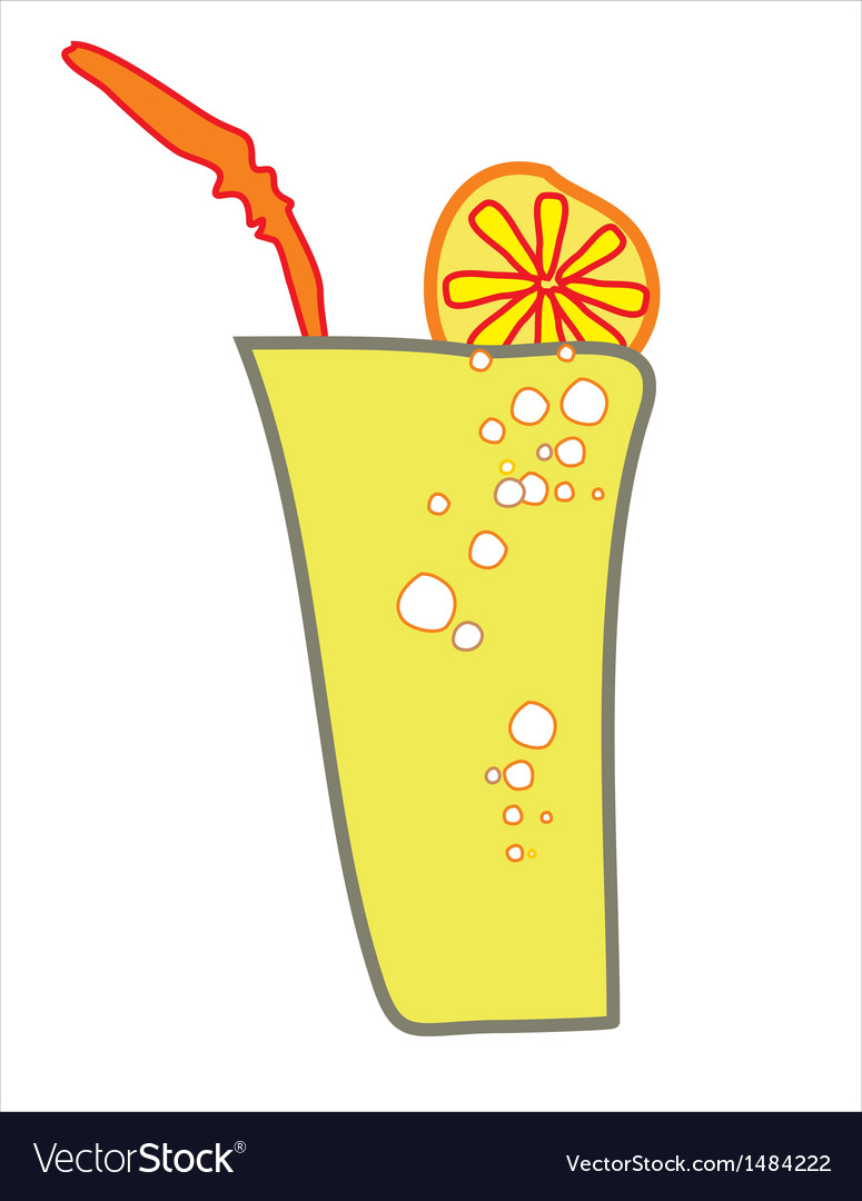 A glass of a drink with lemon slice and a straw vector | Price: 1 Credit (USD $1)
