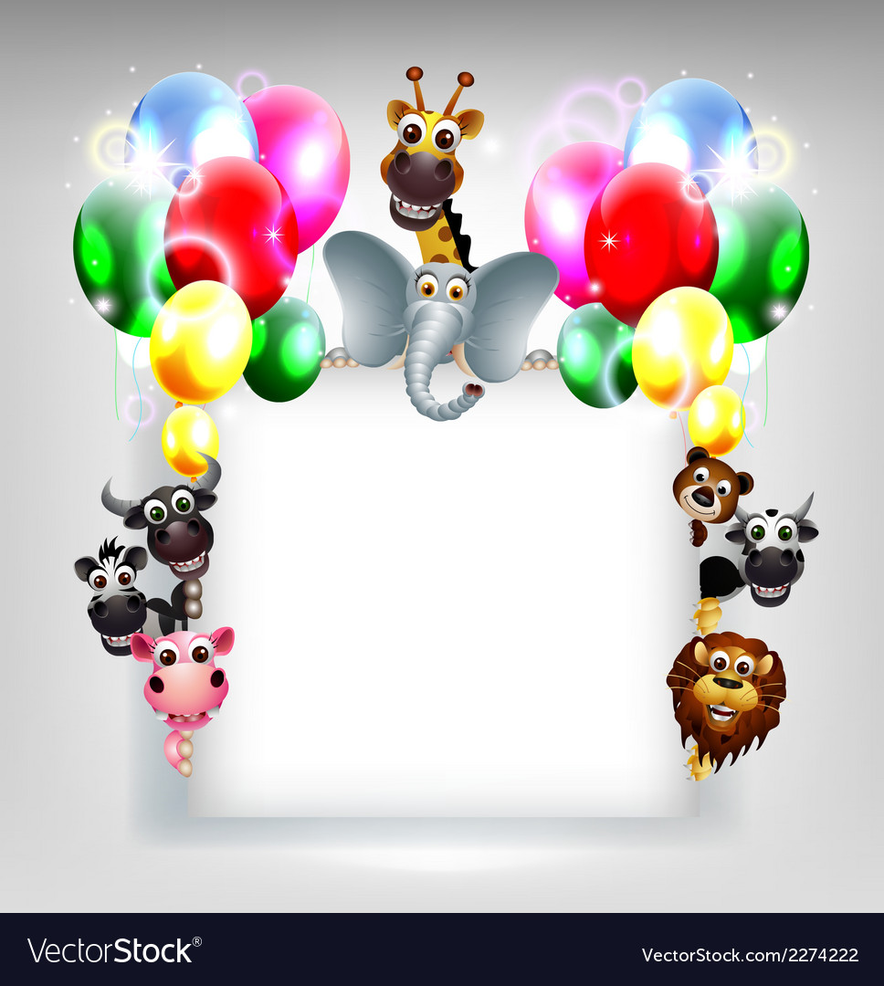 Balloons decoration for you design and animal cart vector | Price: 1 Credit (USD $1)