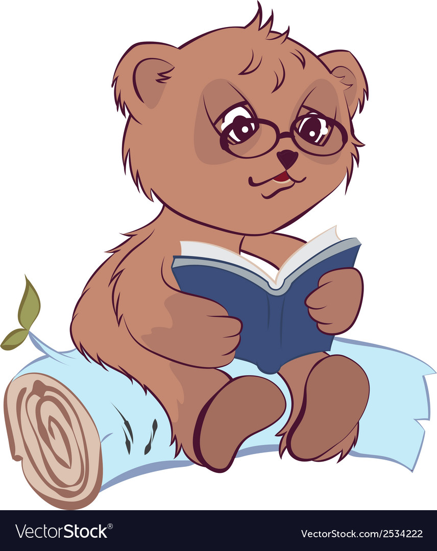 Bear reading book vector | Price: 1 Credit (USD $1)