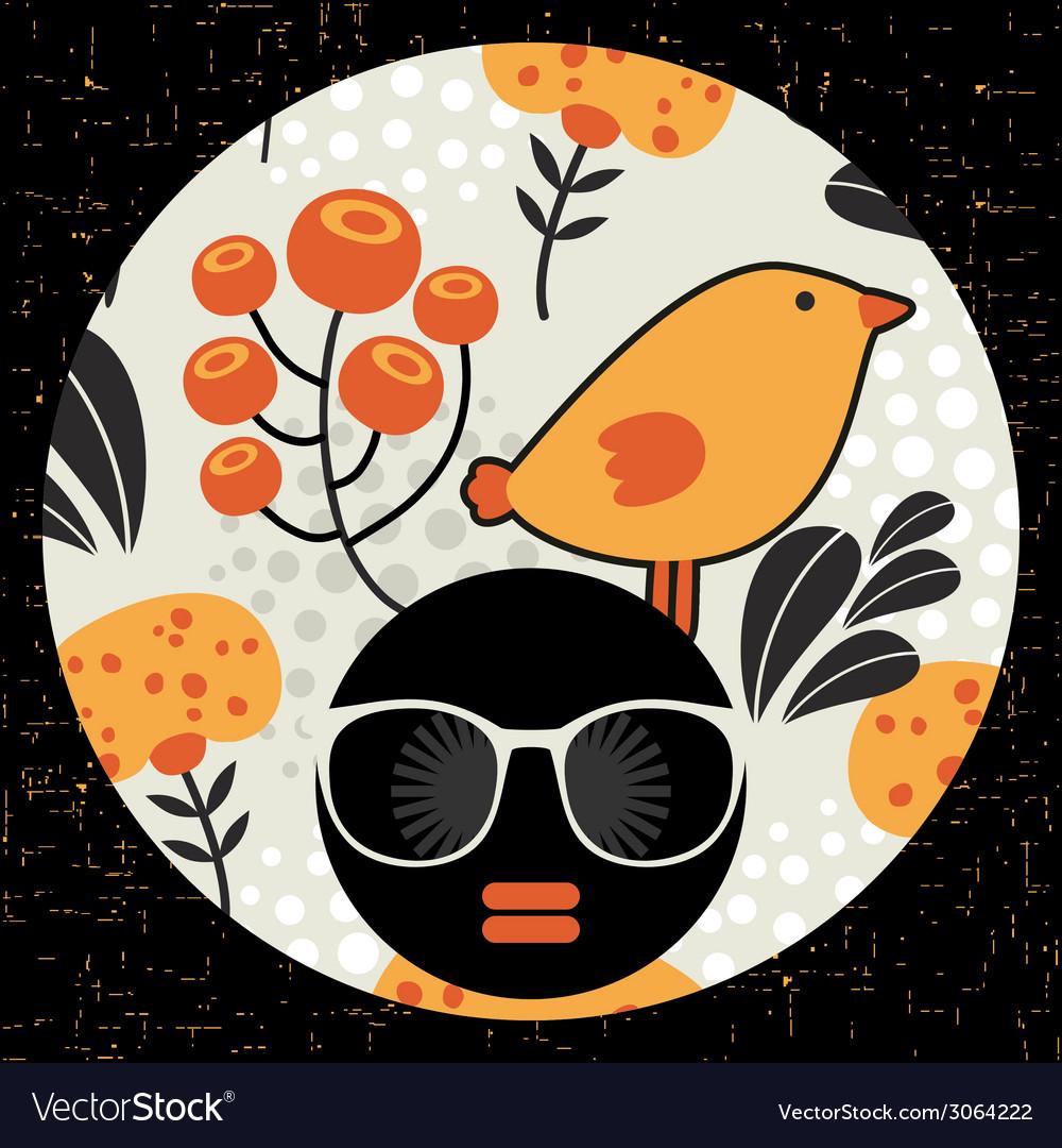 Black head woman in retro sunglasses vector   Price: 1 Credit (USD $1)