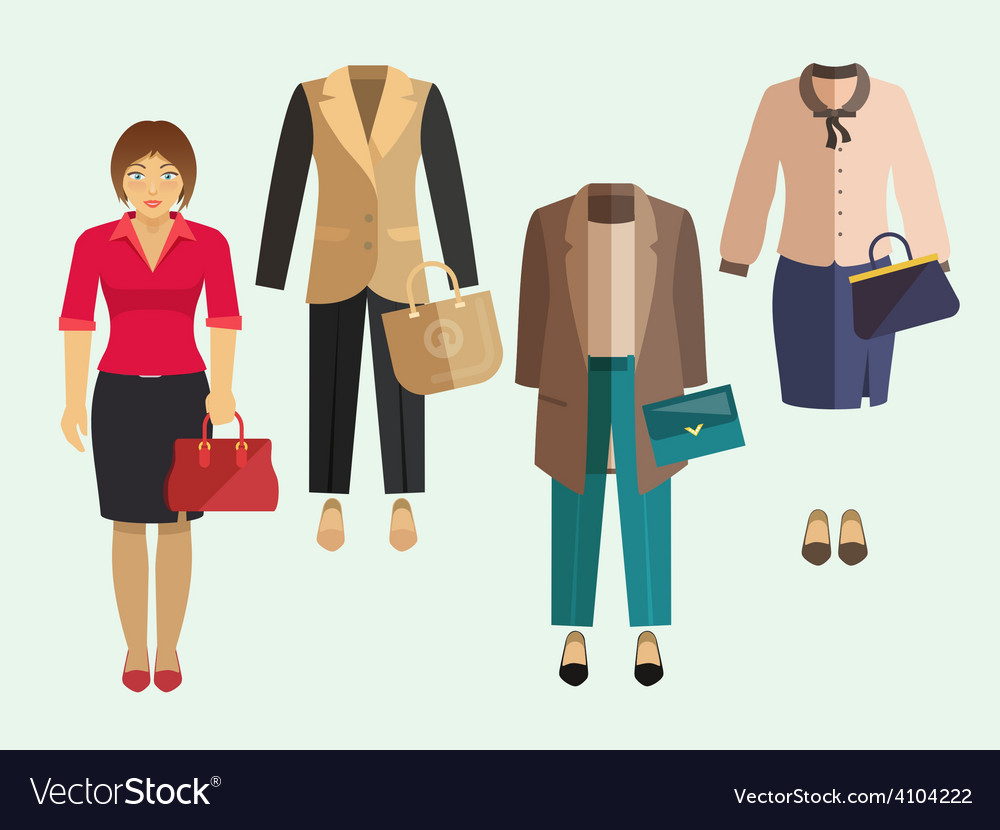Business woman clothes set vector | Price: 1 Credit (USD $1)