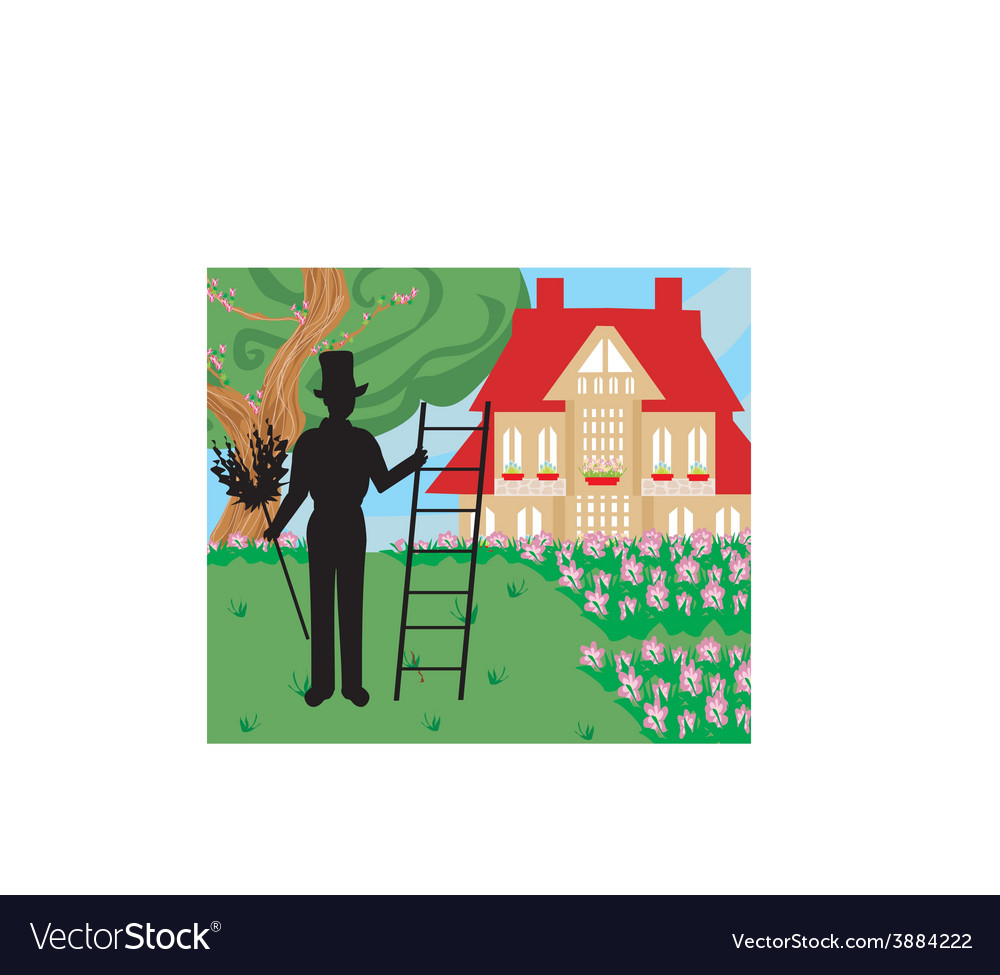 Chimney sweeper at work vector | Price: 1 Credit (USD $1)