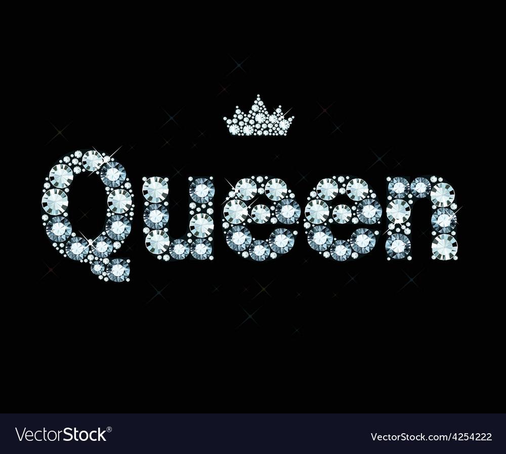 Diamond word queen vector | Price: 1 Credit (USD $1)