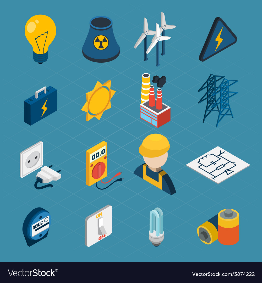 Electricity isometric icons vector | Price: 1 Credit (USD $1)