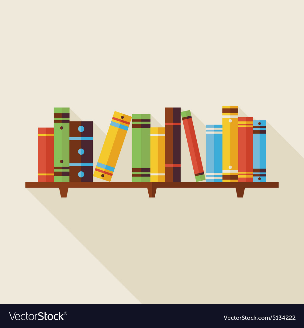 Flat bookshelf reading books with shadow vector