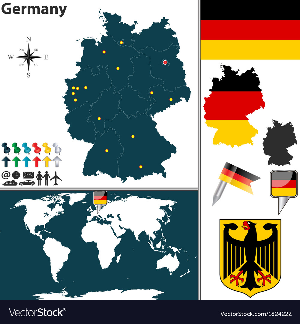 Germany map world vector | Price: 1 Credit (USD $1)