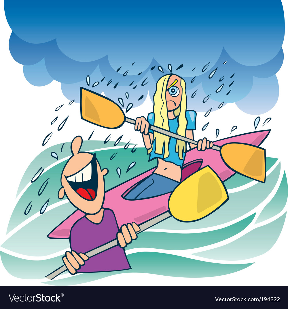 Girl on kayak vector | Price: 3 Credit (USD $3)