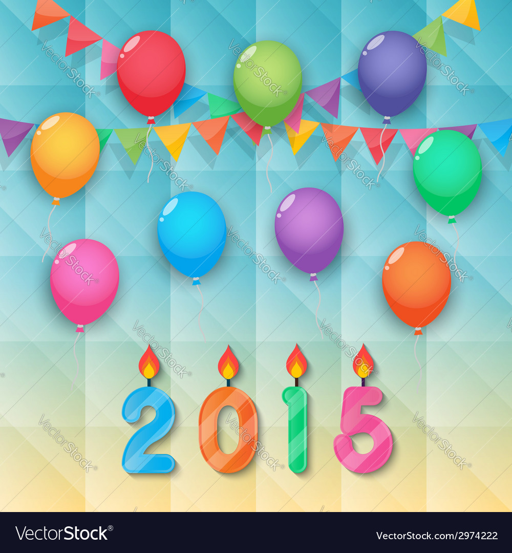 Happy new year candles balloon and party flags sky vector | Price: 1 Credit (USD $1)
