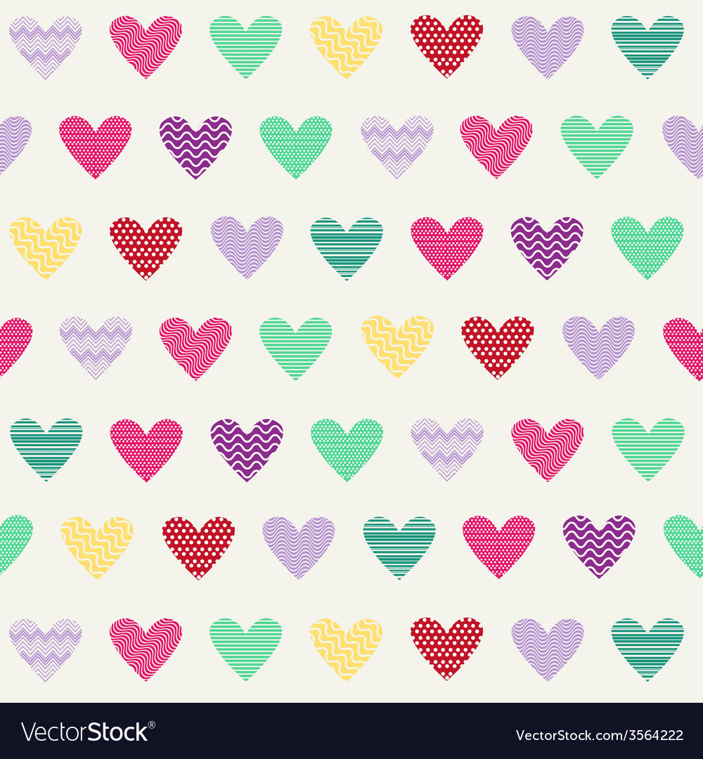 Hearts pattern hearts-with dots and stripes vector | Price: 1 Credit (USD $1)