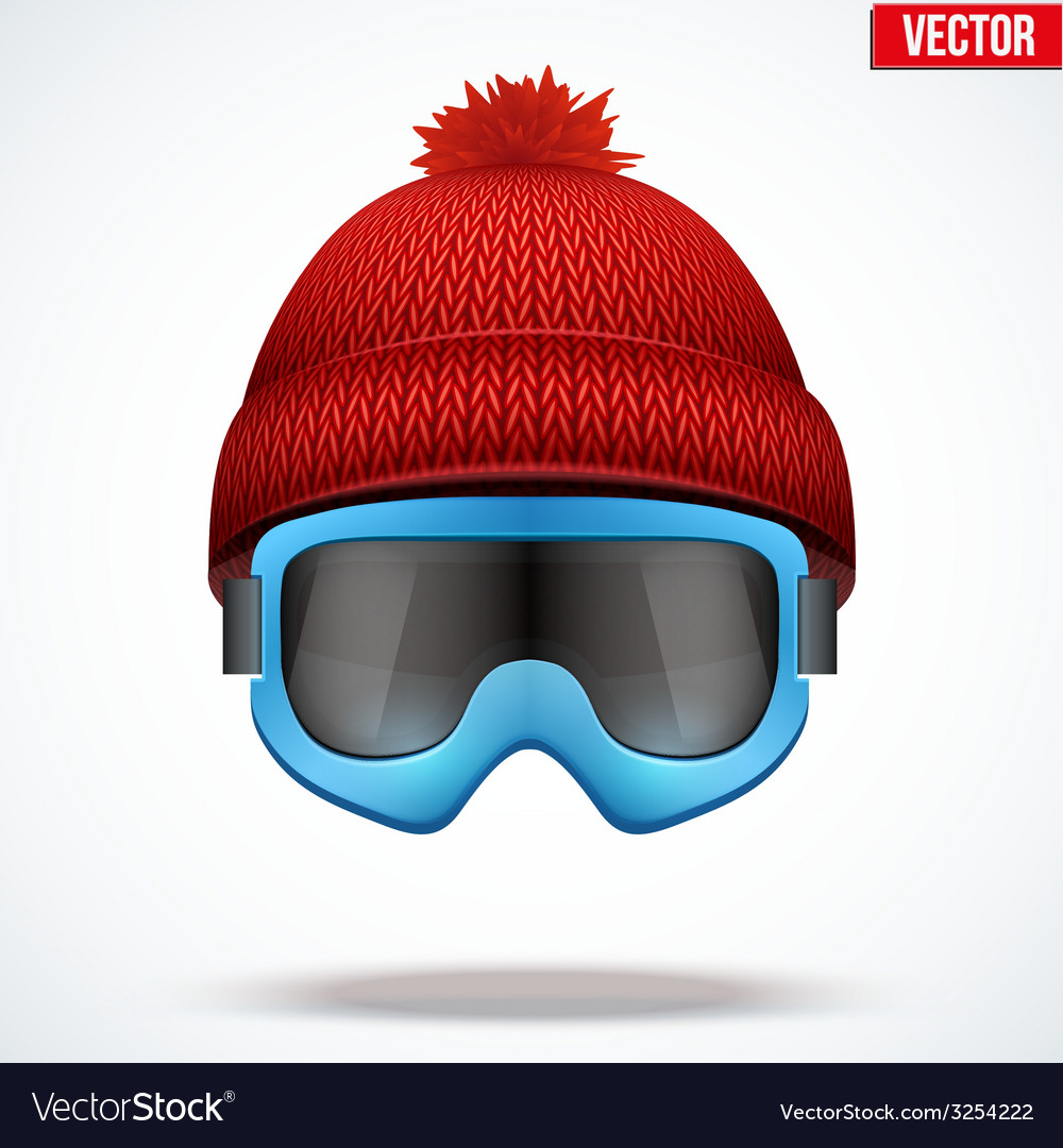 Knitted woolen red cap with snow goggles winter vector | Price: 1 Credit (USD $1)