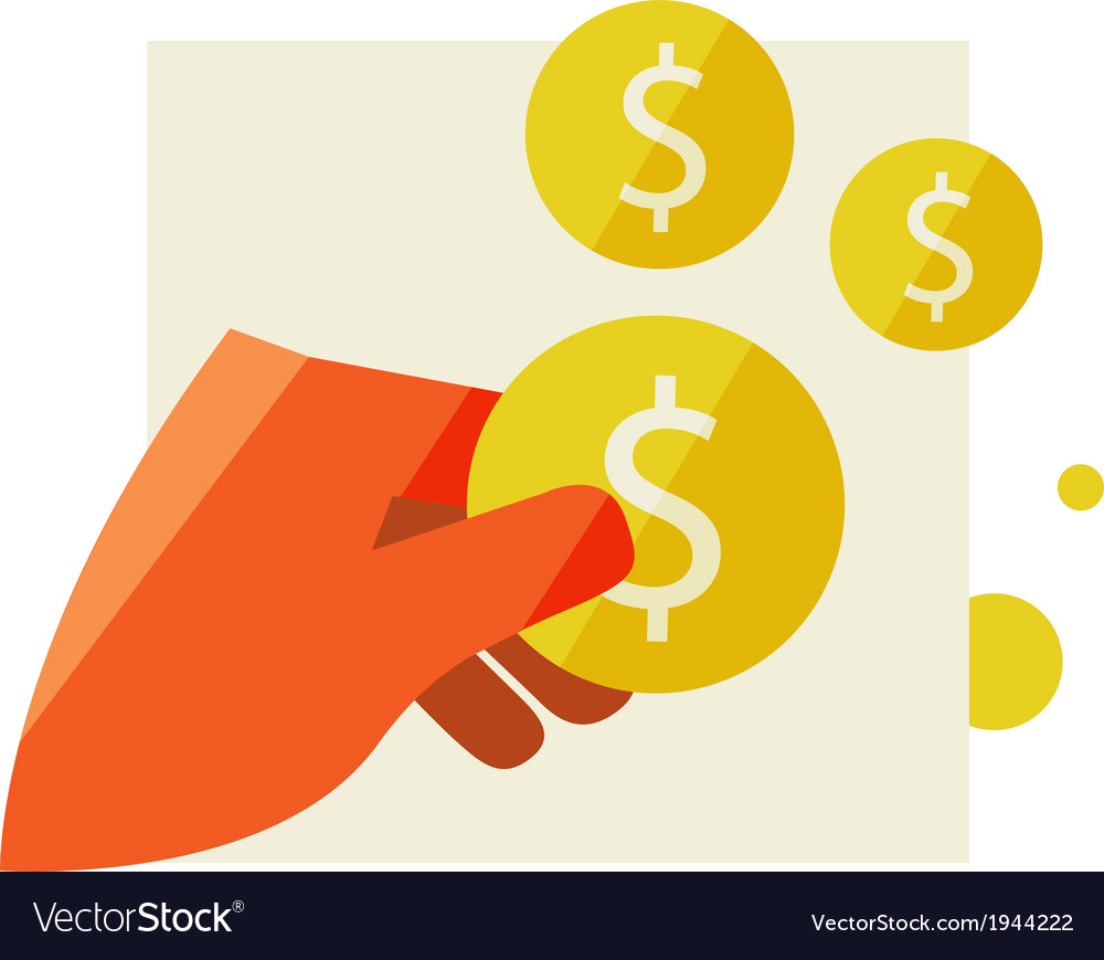 Mans hand holding a coin vector | Price: 1 Credit (USD $1)