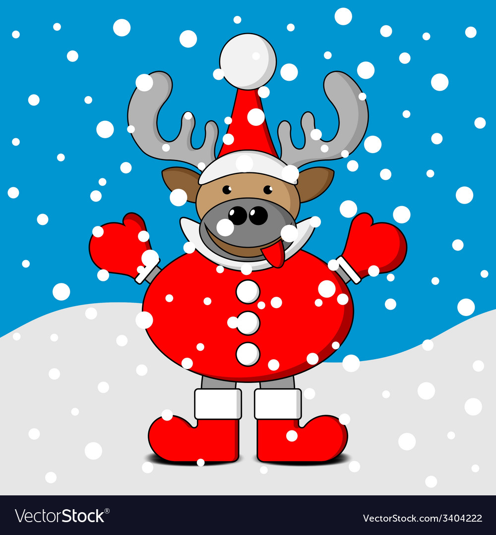 Smiling christmas reindeer with snow vector | Price: 1 Credit (USD $1)