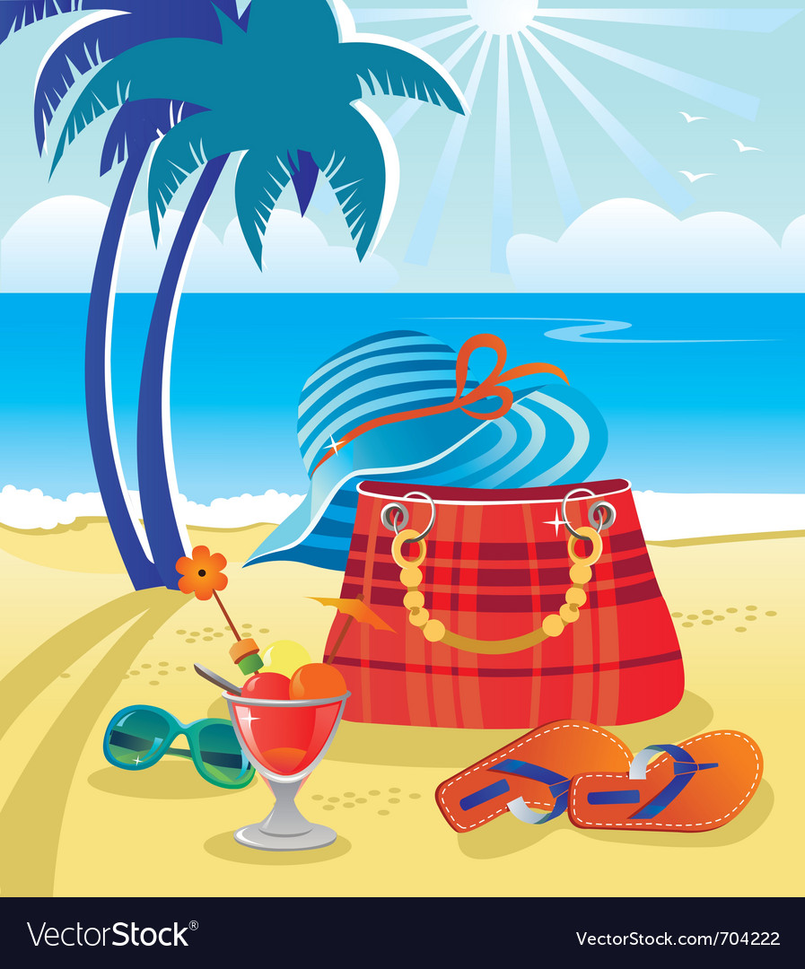 Summer objects on beach vector | Price: 3 Credit (USD $3)