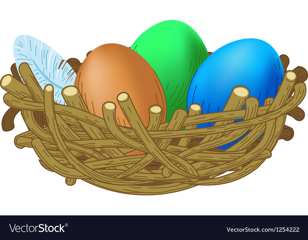Three colored eggs lie in a nest easter vector | Price: 1 Credit (USD $1)