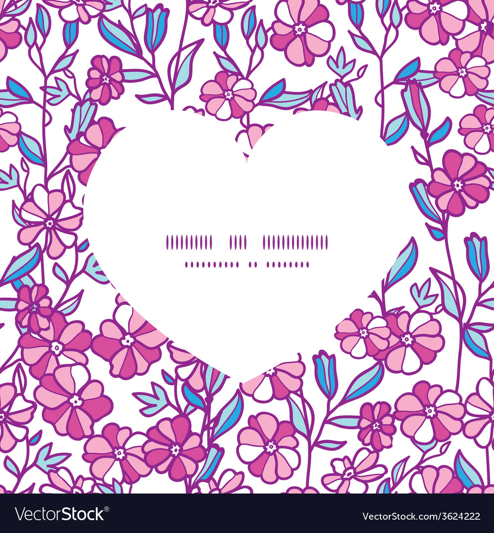 Vibrant field flowers heart silhouette pattern vector | Price: 1 Credit (USD $1)