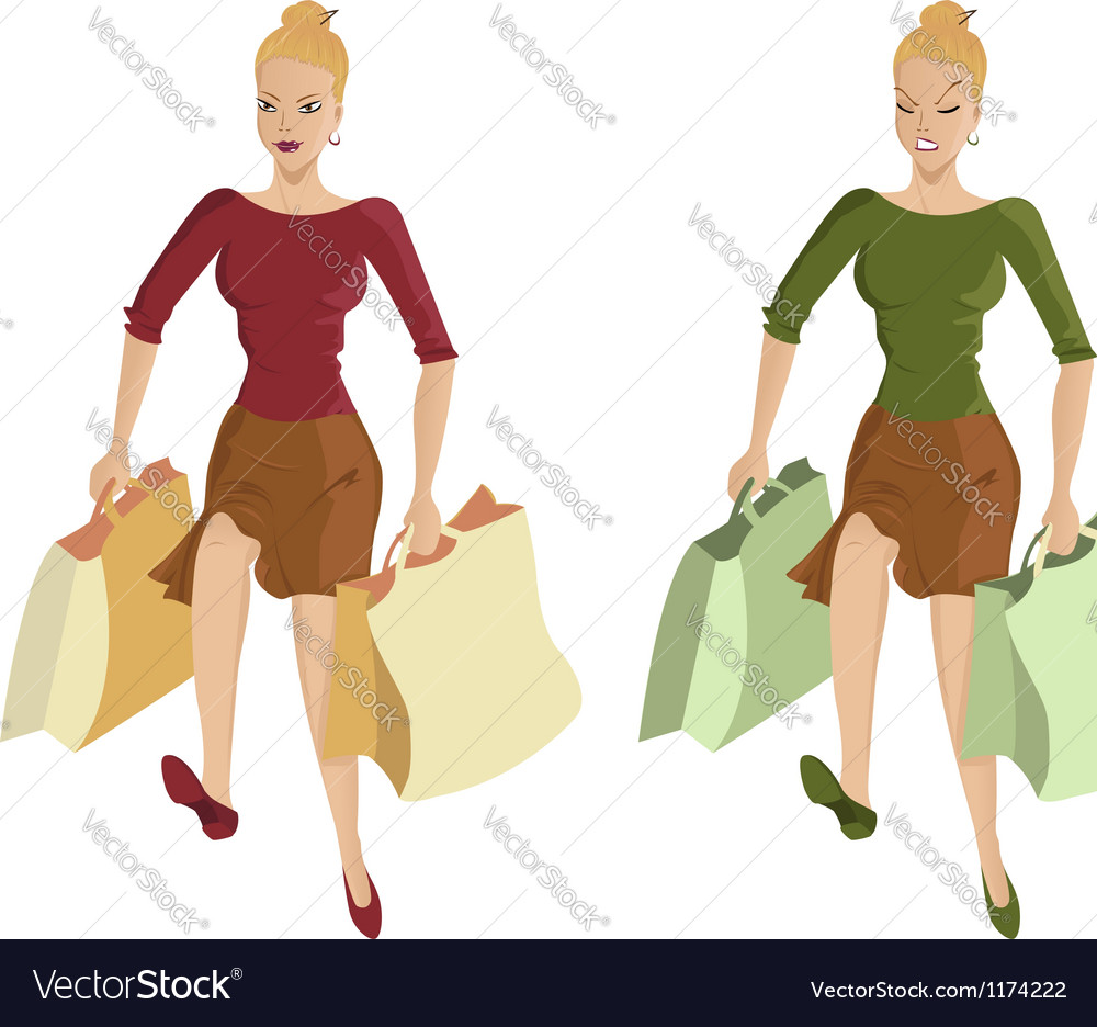 Woman going shopping vector | Price: 5 Credit (USD $5)