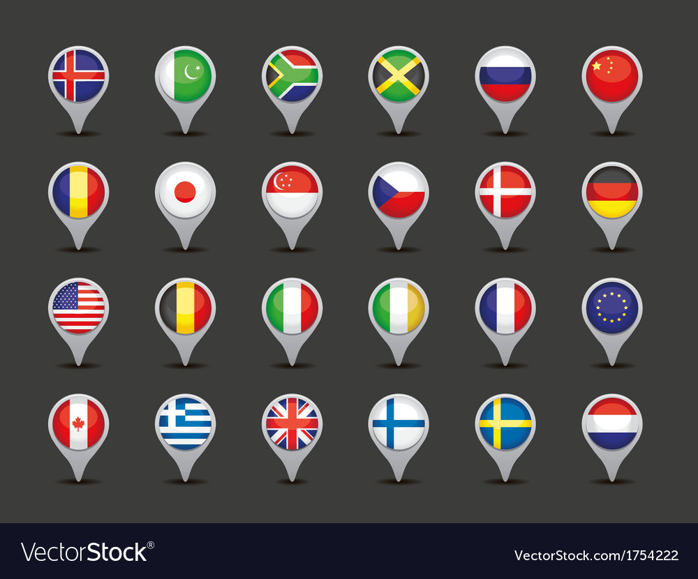 World flag pointers vector | Price: 1 Credit (USD $1)