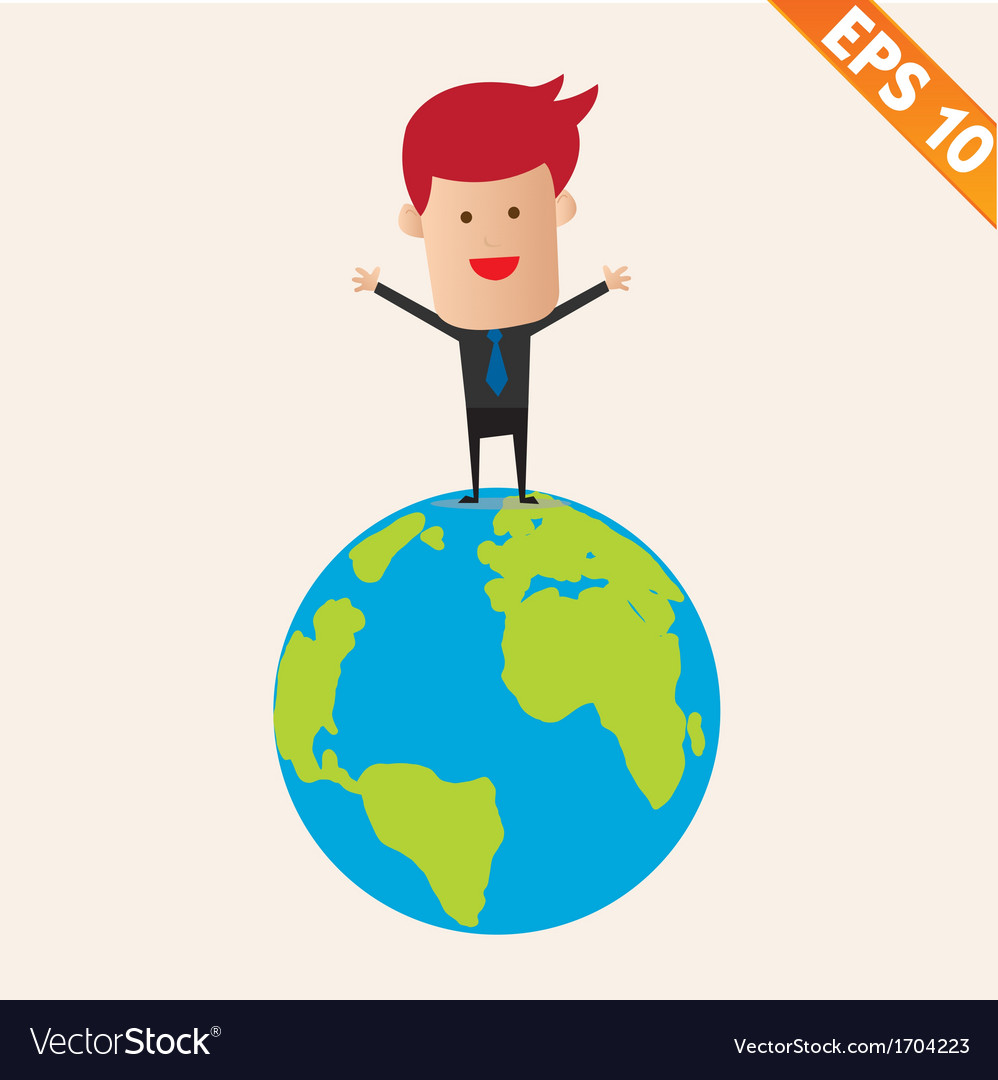 Business man standing on earth- - eps10 vector | Price: 1 Credit (USD $1)