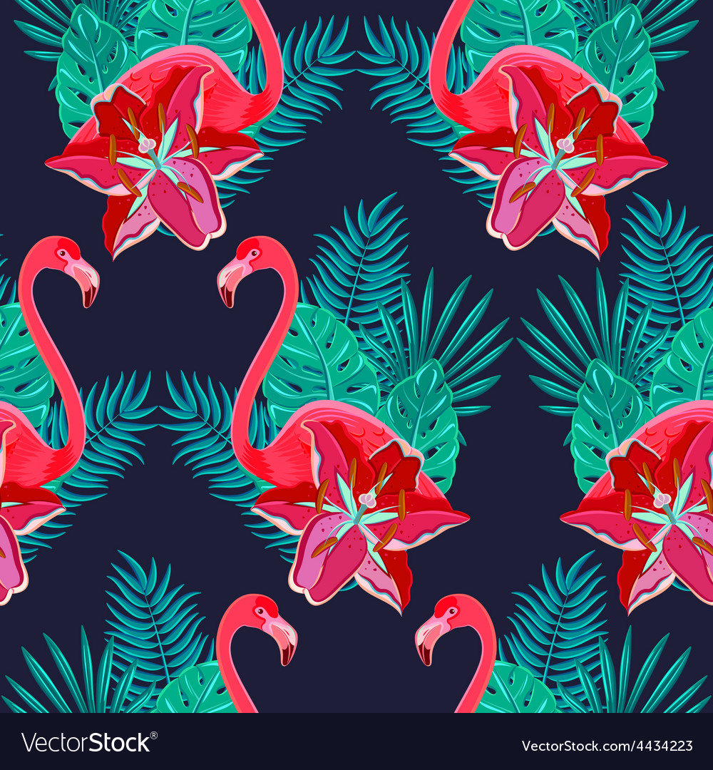 Flamingo lilies colorful seamless pattern vector | Price: 1 Credit (USD $1)