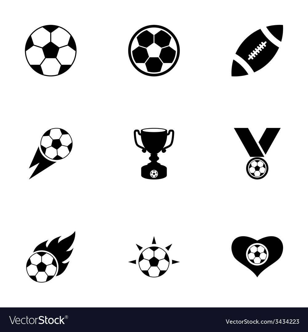 Football icon set vector | Price: 1 Credit (USD $1)