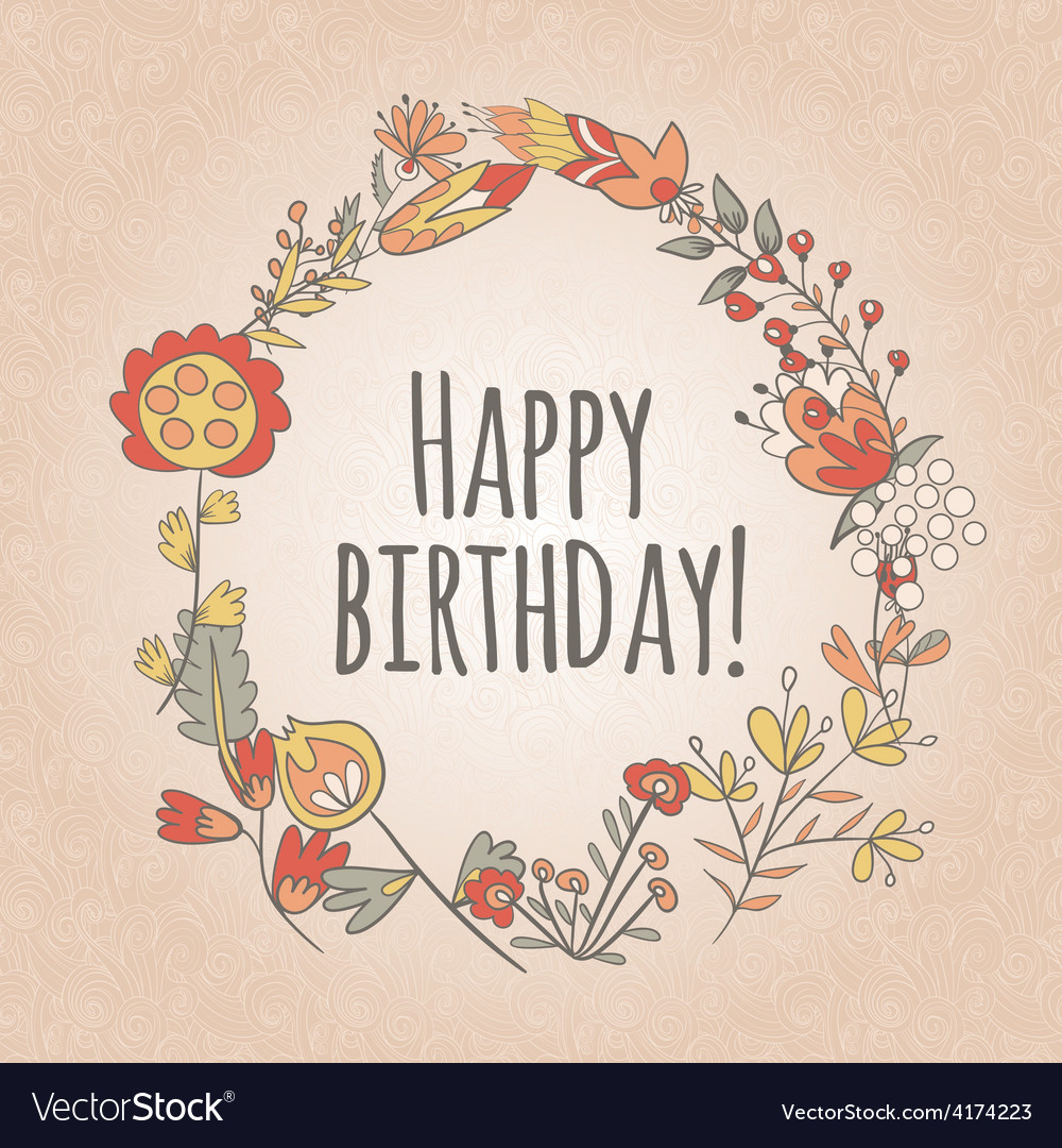 Happy birthday greeting card circle floral frame vector | Price: 1 Credit (USD $1)