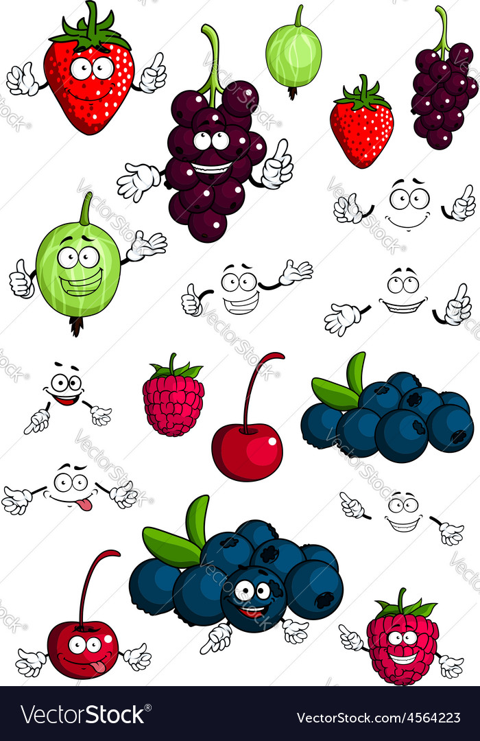 Healthy berries and fruits characters vector | Price: 1 Credit (USD $1)