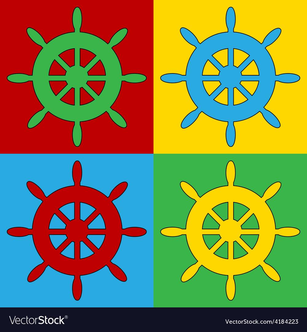 Pop art steering wheel icons vector | Price: 1 Credit (USD $1)