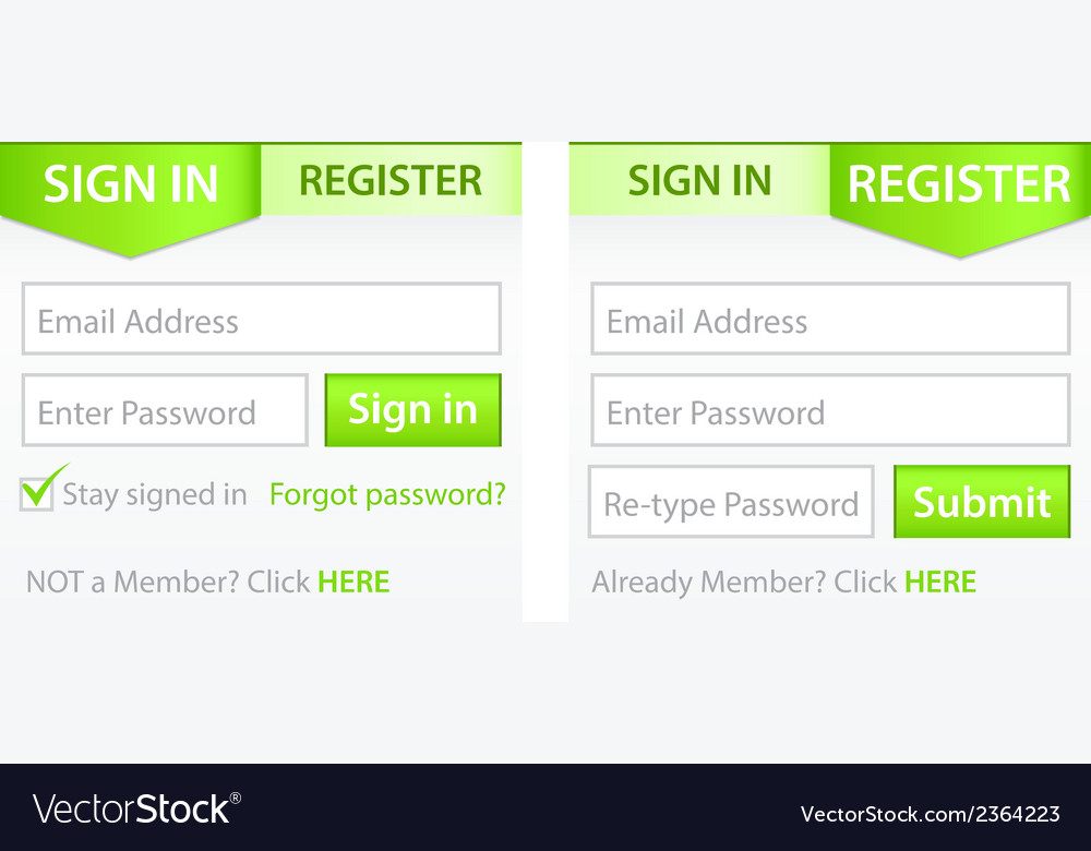 Register sign in forms with green gradient header vector | Price: 1 Credit (USD $1)