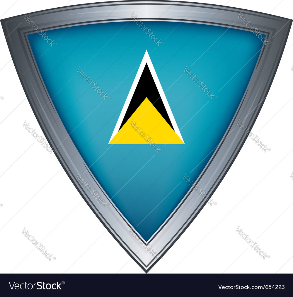 Steel shield with flag saint lucia vector | Price: 1 Credit (USD $1)