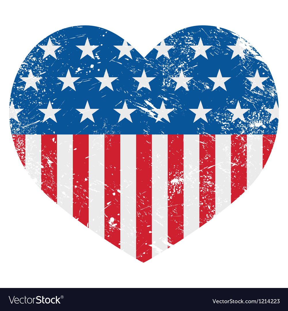 Usa america retro heart flag  vector