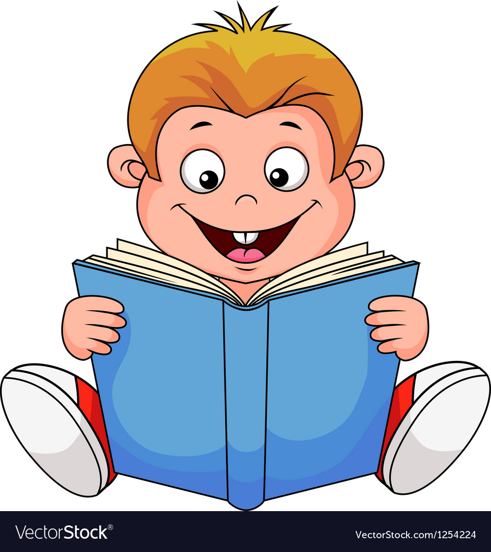 A cartoon boy reading a book vector | Price: 1 Credit (USD $1)