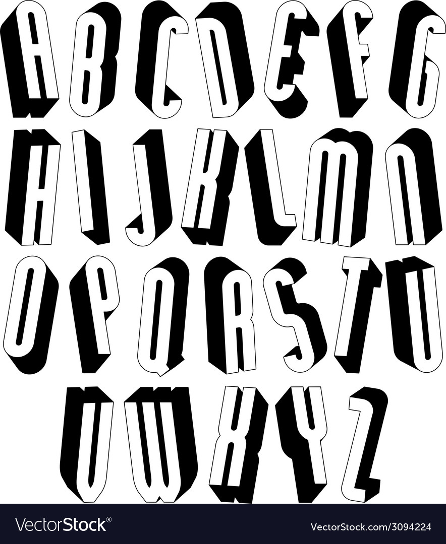 Black and white tall 3d font made with round vector | Price: 1 Credit (USD $1)