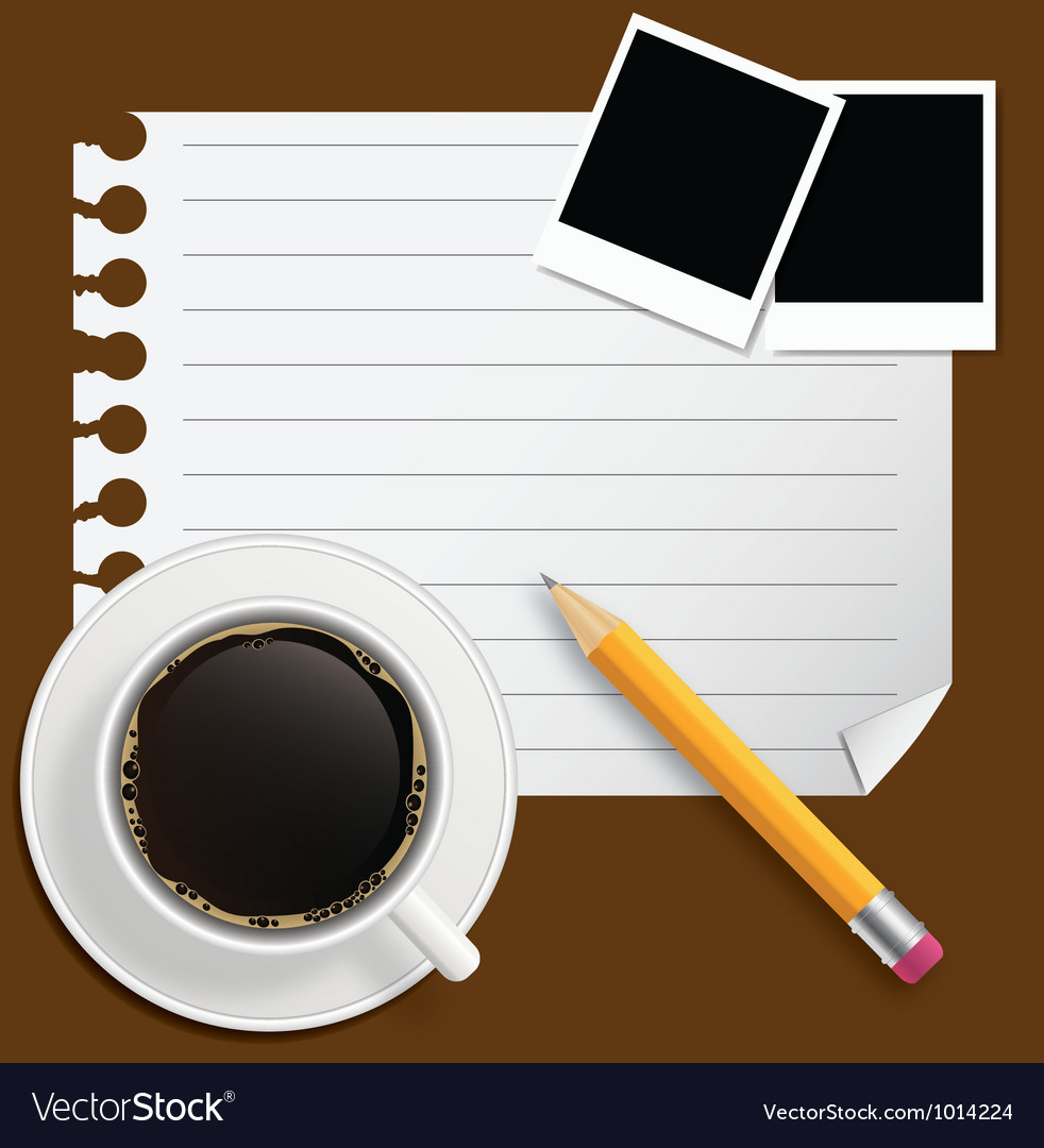 Blank book with coffee and photo frame on bu vector | Price: 1 Credit (USD $1)