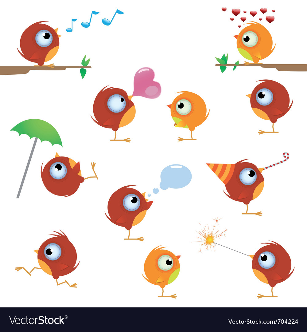 Cartoon canaries bird set vector | Price: 3 Credit (USD $3)