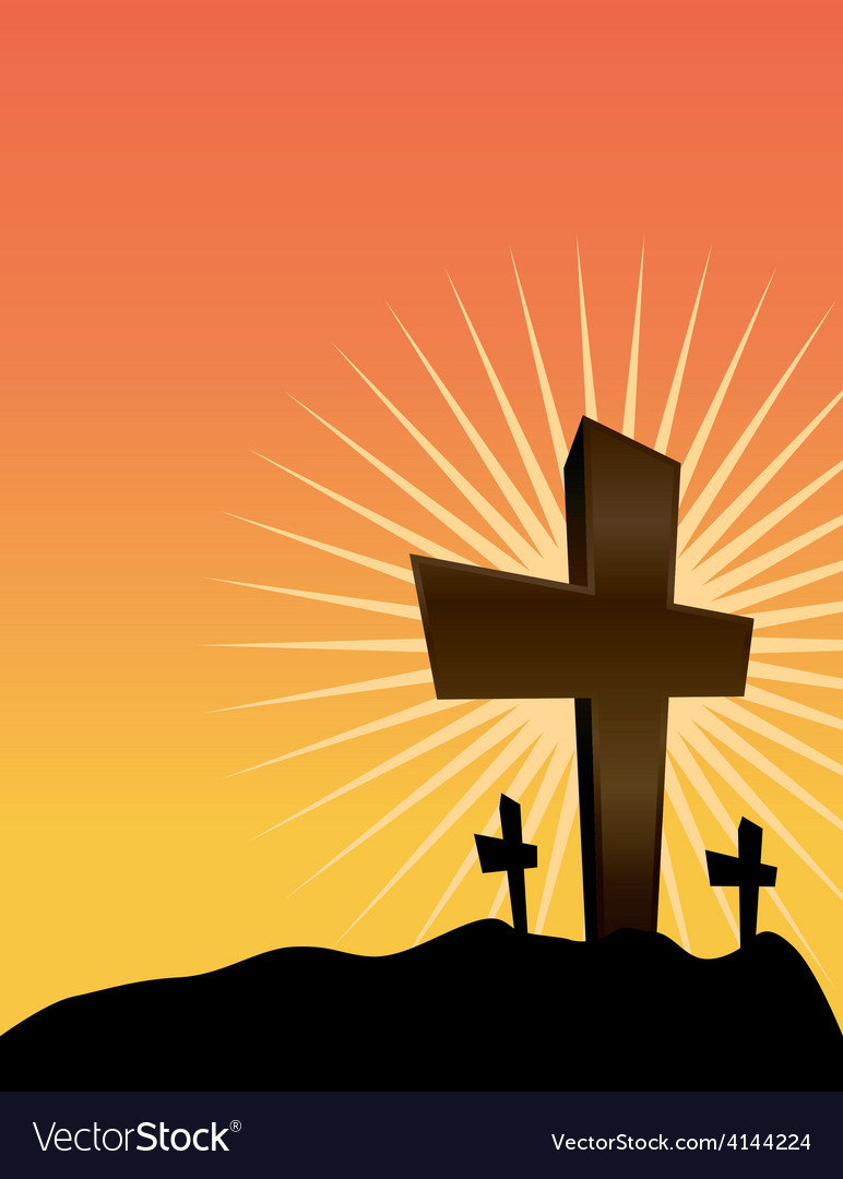 Christian crosses at sunrise easter theme vector | Price: 1 Credit (USD $1)