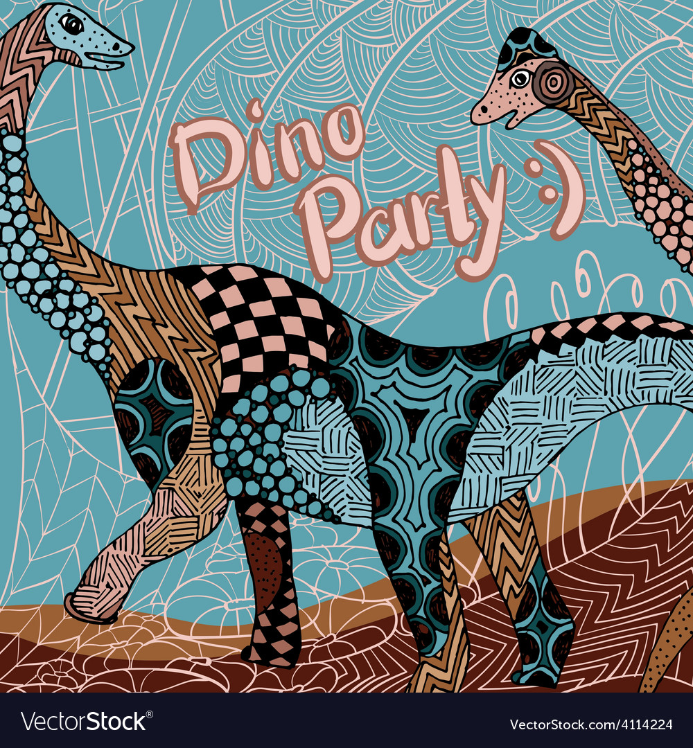 Dino party decorative card with zentangle elements vector | Price: 1 Credit (USD $1)